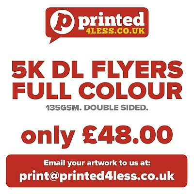£48 • Buy 5000 1/3 A4 Dl Flyers Double Sided Printed Full Colour 135gsm 130 A5 A6 Leaflets