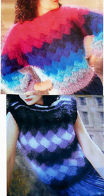 #113 Ladies Mohair Entrelac Top& Sweater Vintage Knitting Pattern 35-45  89-114c • 2.59£
