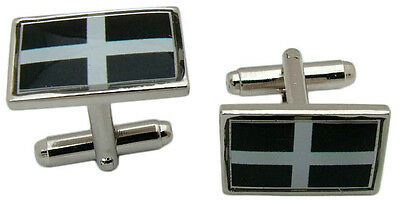 £4.99 • Buy Cornwall Flag Cufflinks Cornish St Piran Badge Mens Gents Novelty In Gift Pouch