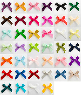 Pack Of 100 - 6mm Satin Ribbon Bows 3cm Wide Crafts Wedding • 3.56£