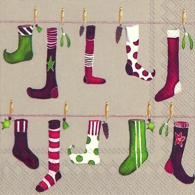 CRAZY CHRISTMAS STOCKING Linen Paper 33cm Square  Lunch Napkins 20 In A Pack • 4.74£