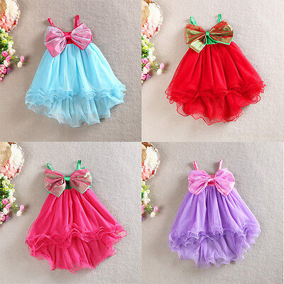 AU10.95 • Buy Girls Dress Big Bow Vintage Lace Tulle TuTu Beach Party Birthday Summer Size 1-7