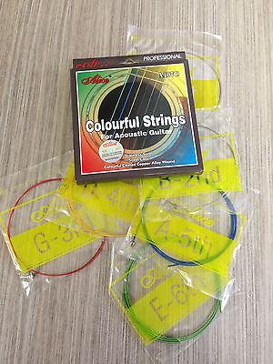 $ CDN7.82 • Buy Alice A407C Colorful Acoustic Guitar Strings Multi-colored Steel String Set