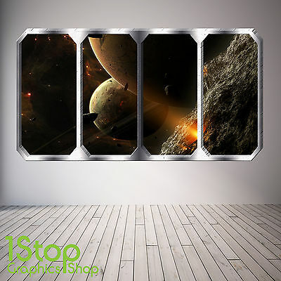 Space Planet Window Wall Sticker Full Colour - Earth Planets Space Ship Sp7 • 13.99£