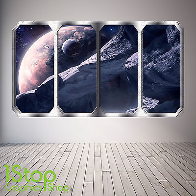 Space Planet Window Wall Sticker Full Colour - Earth Planets Space Ship Sp12 • 13.99£