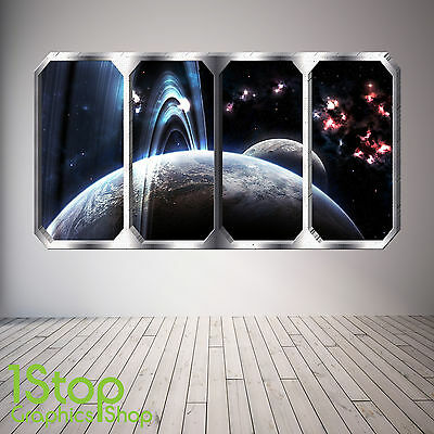 Space Planet Window Wall Sticker Full Colour - Earth Planets Space Ship Sp16 • 13.99£