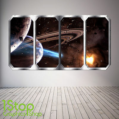 Space Planet Window Wall Sticker Full Colour - Earth Planets Space Ship Sp18 • 13.99£