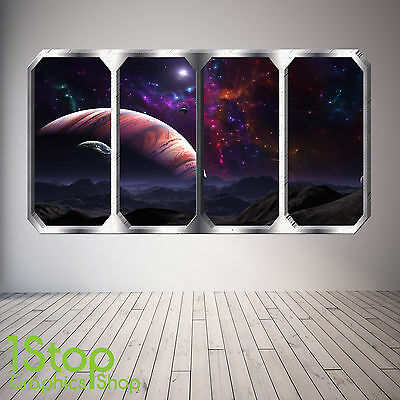 Space Planet Window Wall Sticker Full Colour - Earth Planets Space Ship Sp19 • 13.99£