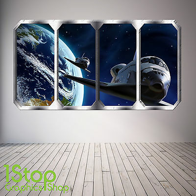 Space Shuttle Window Wall Sticker Full Colour - Earth Planets Space Ship Sp24 • 13.99£