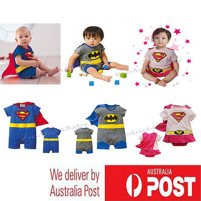 AU13.25 • Buy Baby Boy Girl Superhero Costume Halloween Outfit Romper Superman 00,0,1,2