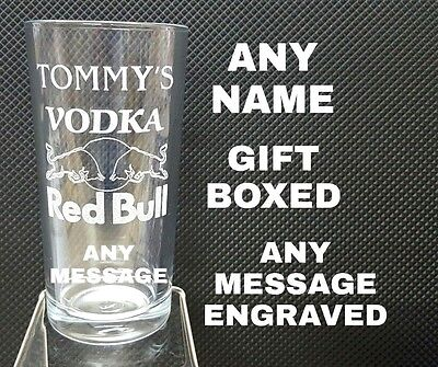 £9.45 • Buy Personalised Engraved Vodka Red Bull Glass Name /message Gift Boxed Vodka Glass