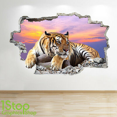 £15.99 • Buy Tiger Sunset Wall Sticker 3d Look - Bedroom Lounge Nature Animal Wall Decal Z14