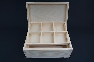 1x Plain Wooden Natural Box Keepsake Jewellery Memory Chest Compartment (P29,5) • 10.99£