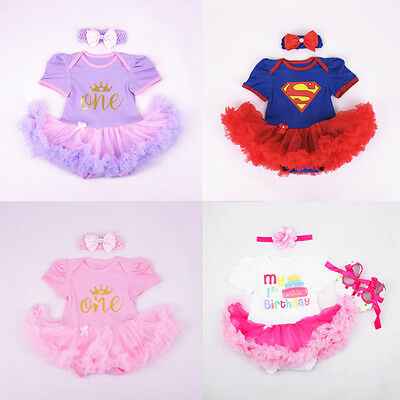 AU20.65 • Buy Baby Girl First 1st Birthday Party Tutu Dress 2ps Set Romper + Headband Outfit