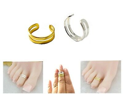 Double Band Adjustable Men/Women Silver/Gold Thumb/Toe/Finger/Knuckle Ring Band • 1.98£