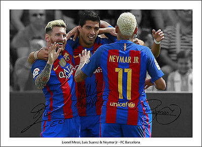 Lionel Messi Signed Print Poster Photo Squad Fc Barcelona Wall Art Suarez Neymar • 3.50£