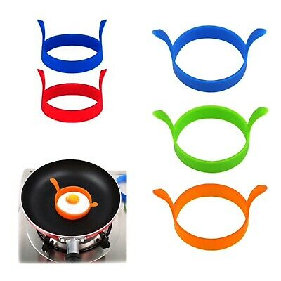 4 X  Silicone Egg Frying Rings Fry Fried Poacher Mould Perfect For Pancakes Ring • 4.15£