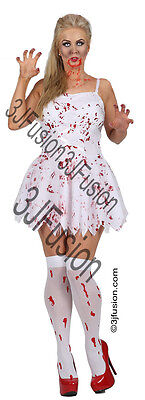 Adult Ladies Zombie Bloody Bride DressHalloween Fancy Dress Costume Womens (EF)  • 15£