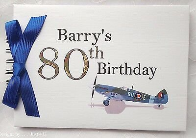 Personalised Spitfire Any Age Milestone Birthday Guest Book /photo Album  • 13.99£