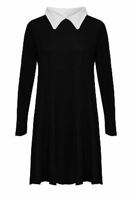 Womens Peter Pan Swing Dress Collared Addams Family Top Flared Plus Size Jersey • 9.95£