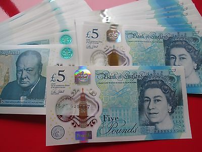 Mint Condition 1 X 2016 Polymer £5 Five Pound Note Consecutive S/No's AD Prefix  • 10.95£