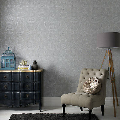 Boutique Province Textured Damask Glitter Grey Wallpaper (Was £23) • 8.99£