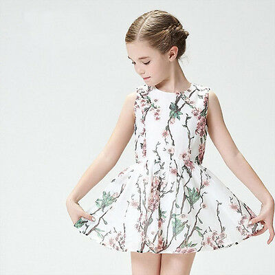 AU14.95 • Buy Girls Floral Dress Party Cotton Summer Dress Size 1-6 Years