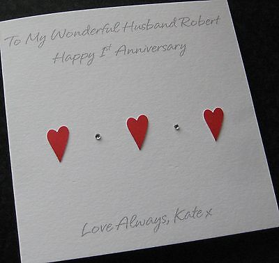 Personalised Wedding Anniversary Card - Husband - Wife - Handmade (AN3)  • 3.95£