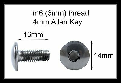 Honda Stainless Motorcycle Fairing Pan Head Allen Key Bolts M6 X 16mm - 10 Pack • 8.99£