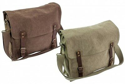 HEAVY DUTY CANVAS SATCHEL HAVERSACK For Messenger Bag Army Cotton FINTRY • 12.99£