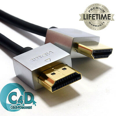 Ultra Slim HDMI Lead For Laptop To TV Cable High Quality Metal Ends Gold Plated • 2.95£
