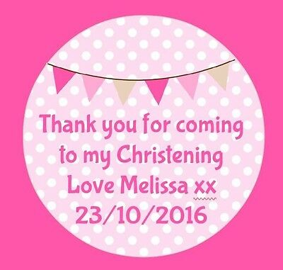 Personalised Pink Bunting Christening Party Stickers Thankyou Sweet Bags Seal • 1.75£