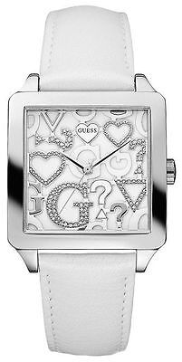 $ CDN121.79 • Buy New Guess Watch Pearl White Leather With 3d Logo+hearts Dial-u85115l1