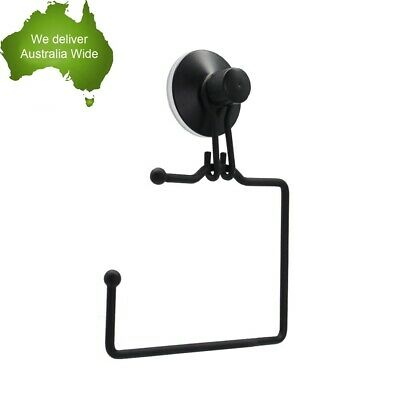 AU12.85 • Buy Classic Black Wall Mount Bathroom Wire Suction Cup Toilet Paper Roll Holder Rack