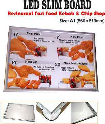 A1 LED Slim Menu Box Illuminated Board Sign Restaurant Take Away High Quality • 199£