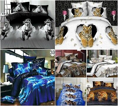 3D Effect Duvet Covers With Fitted Sheets Animal Print 4Pcs Complete Bedding Set • 23.99£