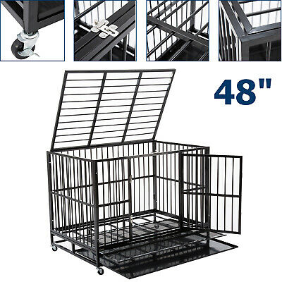 $215.99 • Buy Large 48  Dog Crate Kennel Metal Pet Cage Playpen House W/ Tray&Wheel Heavy Duty