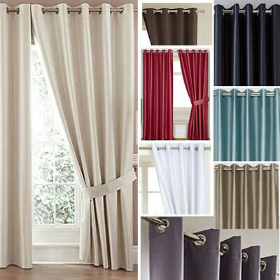 Faux Silk Eyelet Ring Top Blackout Curtains (Pair Of) Ready Made - CLEARANCE  • 10£