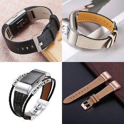 AU11.95 • Buy Genuine Leather Wrist Watch Band Strap For Fitbit Charge 2 Large Small Wristband