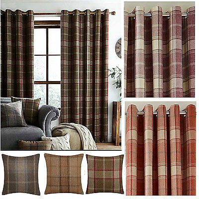 Faux Wool Lined Ring Top Check Curtains (Pair Of) - All Stock Must Go - NOW £15 • 13.50£