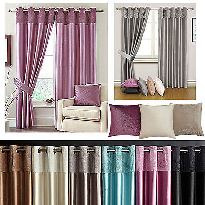 Velvet Border Faux Silk Lined Eyelet Ring Top Curtains (Pair Of) Ready Made • 20£