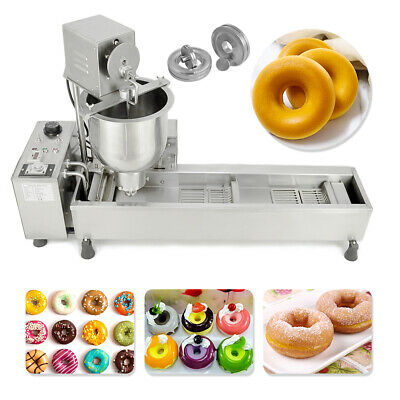 £755.99 • Buy 220V Commercial Automatic Donut Maker Making Machine Wide Oil Tank W/3 Sets Mold