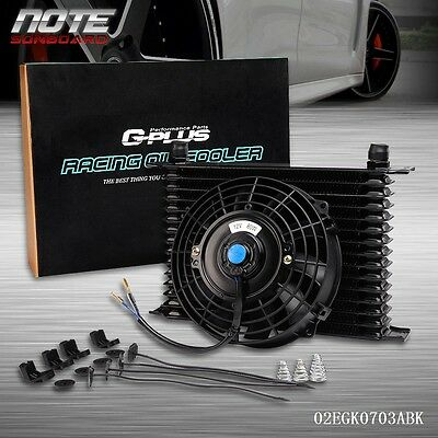 $55 • Buy Universal 15 Row 10AN Engine Transmission Oil Cooler + 7  Electric Fan Kit