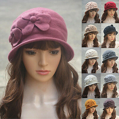 Ladies 100% Soft Wool Cloche Bucket Downton Style1920s Floral Winter Hat A218 • 6.98£
