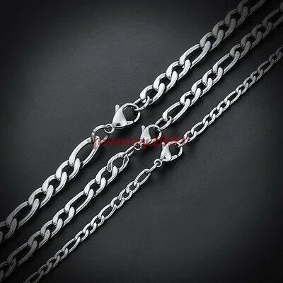 $ CDN15.10 • Buy 18 -36  Wholesale Lots Silver Stainless Steel Figaro Chain Necklace In Bulk HOt