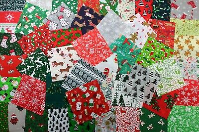 Wow! Christmas Fabric Bundle Of 20 Assorted Pieces  5  Square  • 2.95£