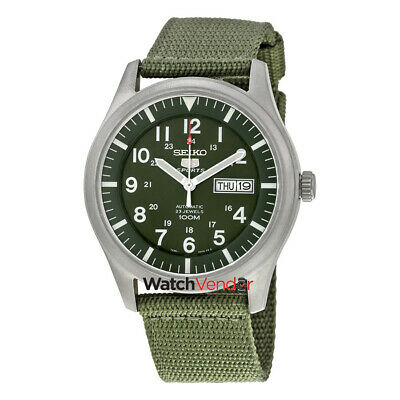 $ CDN198.99 • Buy Seiko 5 Sport Automatic Khaki Green Canvas Mens Watch SNZG09