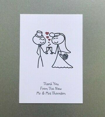 £4.50 • Buy 10 Personalised Wedding Thank You Cards - Postcard - Modern- Contemporary-Simple
