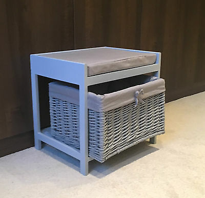 Grey Storage Unit Stool Wicker Rattan Drawer Basket Shabby Chic Cushion Seat  • 54.99£