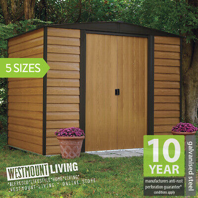 6x5 8x6 10x6 10x8 10x12 FT WOOD LOOK METAL GARDEN STEEL WOODGRAIN EFFECT SHED • 288£